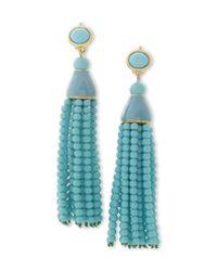 Kenneth Jay Lane   Blue Turquoise Tassel Clip Earring   Lyst