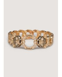 Bebe | Metallic Logo Panther Head Bracelet | Lyst