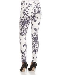7 For All Mankind - White Floral Print Skinny Jeans - Lyst