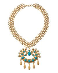 Kenneth Jay Lane | Metallic Cabochon Pendant Collar Necklace | Lyst