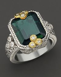 "Judith Ripka | Green ""estate"" Bezel Set Emerald Cut Ring 