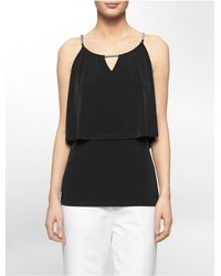 Calvin Klein | Black White Label Hardware Double Layer Jersey Tank Top | Lyst