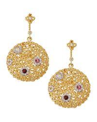Roberto Coin - Metallic 18 Karat Gold Mauresque Diamond Drop Earrings - Lyst