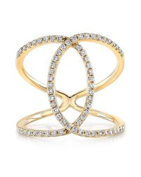Anne Sisteron - 14kt Yellow Gold Diamond Cigar Band Ring - Lyst