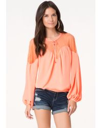 Bebe - Pink Solid Lace Yoke Top - Lyst