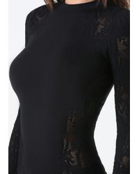 Bebe - Black Lace Detail Mock Neck Top - Lyst