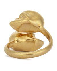 Alexander McQueen - Metallic Gold Tone Twin Skull Ring - Lyst