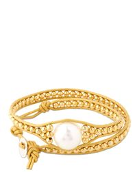 Colana - Metallic Leather Wrap Bracelet With Pearl - Lyst