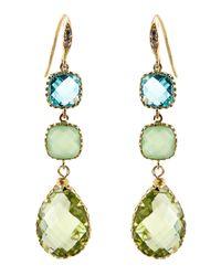 Indulgems | Green Amethyst & Glass 3-Drop Earrings | Lyst