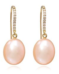 Kojis | Pink Pearl And Diamond Pear Drop Earrings | Lyst