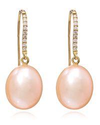 Kojis - Pink Pearl And Diamond Pear Drop Earrings - Lyst