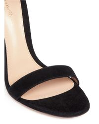 Gianvito Rossi - Black Lace Cuff Suede Sandals - Lyst