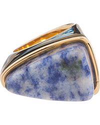 Chloé - Blue Marbled Stone Bettina Ring - Lyst
