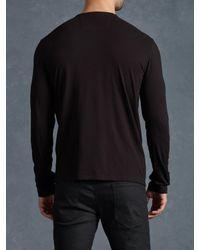 John Varvatos - Black Long Sleeve Henley for Men - Lyst