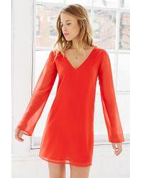 Kimchi Blue - Red Long-Sleeve Chiffon Cross-Back Dress - Lyst