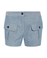 Paul & Joe - - Striped Cotton And Linen-blend Shorts - Light Blue - Lyst