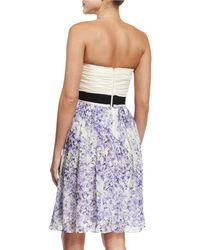 Giambattista Valli - Blue Strapless Ruched Silk Combo Dress - Lyst