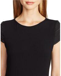 Lauren by Ralph Lauren - Black Pintucked Cap-sleeved Top - Lyst