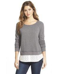 Caslon - Gray Lace Shirttail Hem Sweatshirt - Lyst