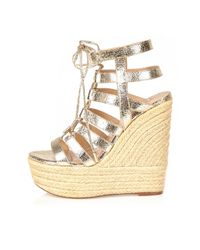 Gold Gladiator Wedges River Island
