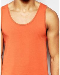ASOS - Muscle Fit Vest With Stretch In Orange for Men - Lyst