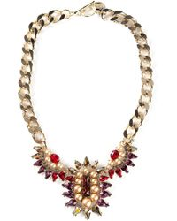 Anton Heunis | Metallic Teardrop Crystal Cluster Bib Necklace | Lyst