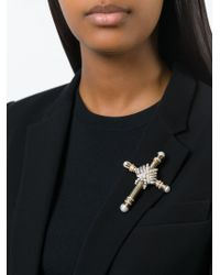 Givenchy | Metallic Embellished Cross Brooch | Lyst