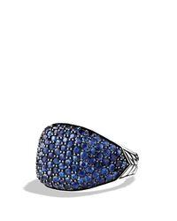 David Yurman - Pavé Cushion Ring With Blue Sapphires - Lyst