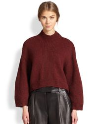 3.1 Phillip Lim - Red Mock Turtleneck Zipper-Detail Sweater - Lyst