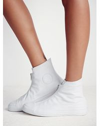 Free People | White Leather Shroud High Top Chucks | Lyst