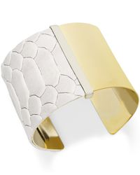 INC International Concepts | Metallic Gold-tone Python Print Metal Cuff Bracelet | Lyst