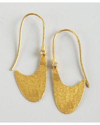 Gurhan - Metallic Gold and Diamond Lobe Half Crescent Earrings - Lyst