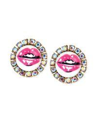 Betsey Johnson - Metallic Lips Round Stud Earrings - Lyst
