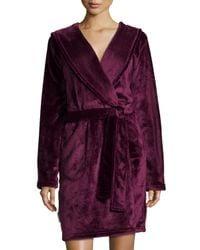 UGG - Purple Hooded Shawl Collar Short Robe - Lyst