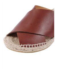 Bettye Muller   Brown Dijon Leather Wedge Espadrille Mule Sandals   Lyst
