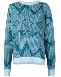 Baja East - Blue Tribal Pattern Oversized Sweater - Lyst