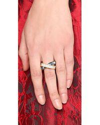 Michael Kors - Pave Baguette Crossover Ring Goldblue - Lyst