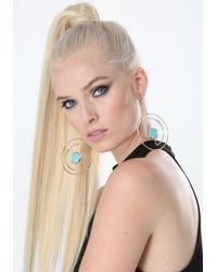 Bebe - Blue Modern Cutout Hoop Earrings - Lyst