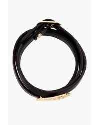 McQ | Black Leather Swallow Wrap Bracelet | Lyst