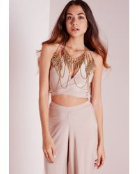 Missguided - Metallic Full Body Layered Body Chain Gold - Lyst