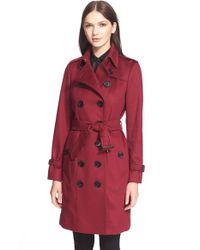Burberry | Red 'sandringham' Long Slim Cashmere Trench Coat | Lyst
