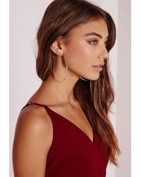 Missguided | Metallic Classic Silver Hoops | Lyst