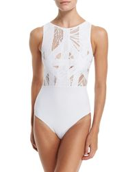 OYE Swimwear - White Elsa Lace & Lattice One-piece Swimsuit - Lyst