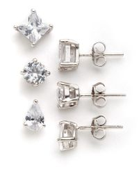 Lord & Taylor | Metallic Three-pair Stud Earrings | Lyst
