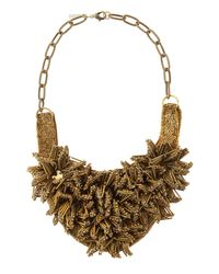 Deepa Gurnani - Metallic Brass Flower Bib Necklace - Lyst