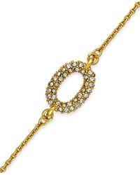 Kate Spade | Metallic Gold-tone Crystal Pavé Solitaire Bracelet | Lyst
