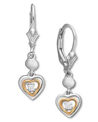 Macy's | Metallic Sterling Silver And 14K Rose Gold Earrings, Diamond Accent Heart Leverback Earrings | Lyst