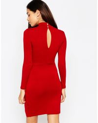 ASOS - Red Petite Asymmetric Polo Bodycon Dress - Lyst