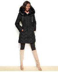 Tahari - Black Hooded Faux-Fur-Trim Down Puffer Coat - Lyst