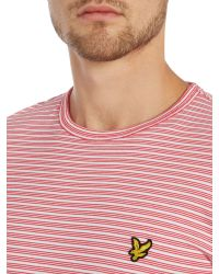 Lyle & Scott - Red Fine Line Stripe Crew Neck T-shirt for Men - Lyst